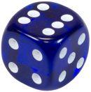 """Кубик D6 """"Драгоценный камень"""", 15мм, синий"""