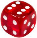 """Кубик D6 """"Драгоценный камень"""", 15мм, красный"""