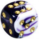 """Кубик D6 """"Мраморный"""", 12мм, фиолетовый"""