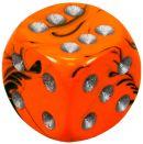 """Кубик D6 """"Ядовитый оттенок"""", 15 мм, оранжевый с зелеными разводами"""
