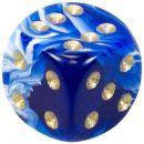 "Кубик D6 ""Мраморный"", 15мм, синий"