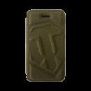 Чехол-Книжка для iPhone 4/4S c логотипом WOT «Зеленый текстиль»